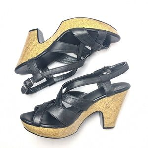 A.n.a black leather wooden heel sandals, heels, 9